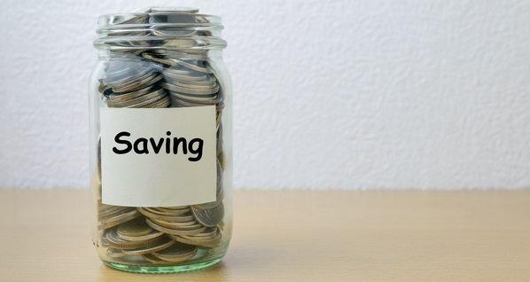 Money saving for savings in the glass bottle